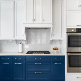 Classic Kitchen with Blue Lower and White Upper Cabinets, Custom Hood