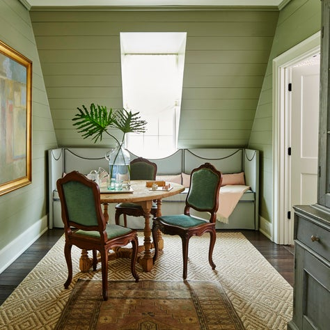 Southern Living green banquette, antique dining chairs & painted shiplap