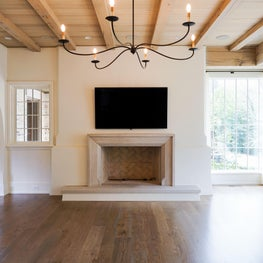 Private Residence, Sanded Beams in Living Room