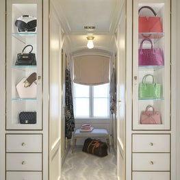 Purse Vestibule with Custom Backpainted Glass & Brass Cabinetry