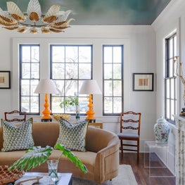 Living Room Vignette with mix of custom upholstery and vintage accessories