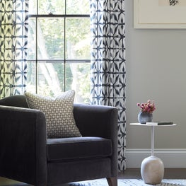 Master Bedroom Seating Area Featuring Art, Rug Company and Printed Schumacher Drapes