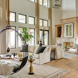 Horse Meadow country house featuring soaring ceilings and double fireplaces.