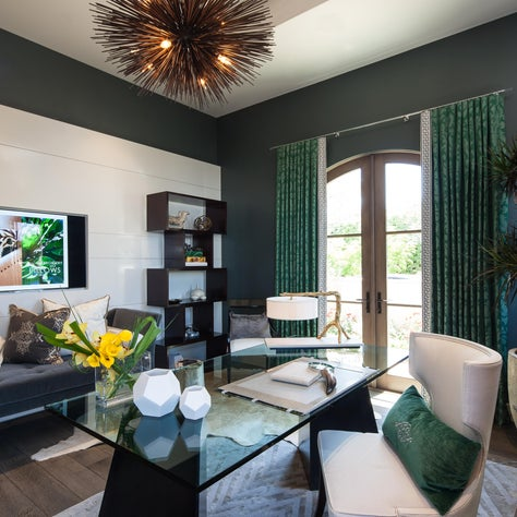 Home office with emerald green accents