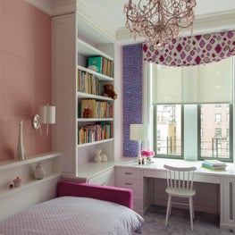 Park Avenue Residence, Girl's Bedroom w/ pastel palette and whimsical chandelier
