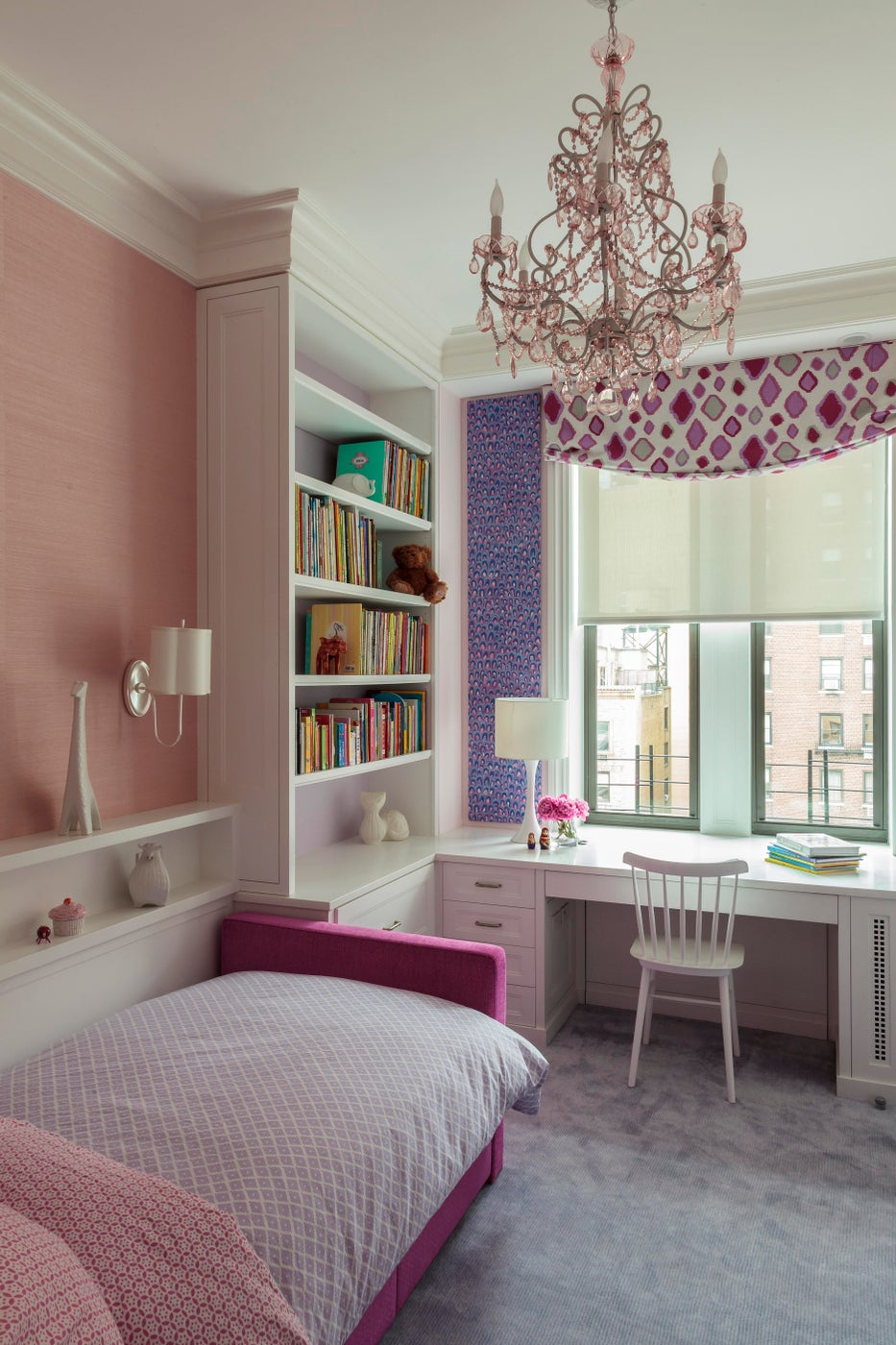 Park Avenue Residence, Girl's Bedroom w/ pastel palette and whimsical chandelier