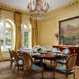 Silk wall inserts and marbleized Georgian wall paneling - Classical Dining Room