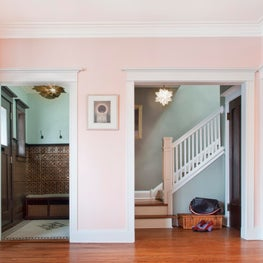 Transitional Living Room with Pink walls