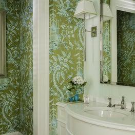 Wallpapered bathroom designed by Robin Gannon Interiors