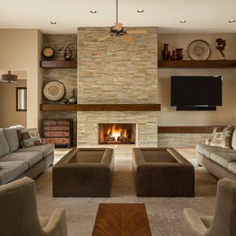 Desert contemporary living room in neutral beige and olive green, Arizona
