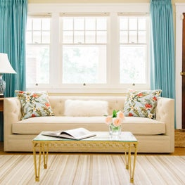 Historic House on the Hill, Boulder Colorado - Living Room with custom vintage pillows and turquoise custom draperies