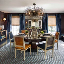 Chocolate Brown Lacquered Dining Room with Jean de Merry Chandelier