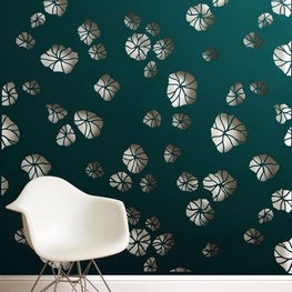 Lighted metal wall mounted panel in floral Mizu Modern pattern
