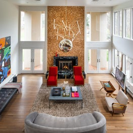 European Master. Renovation in Rumson NJ, curated space featuring  European midcentury masters and mixed textures
