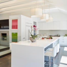 White Modern Kitchen Gut Rehab in Wilmette, IL