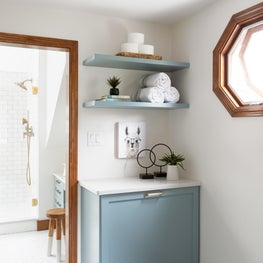 bathroom laundry/custom built in/open shelving/wood trim