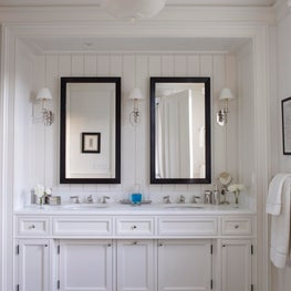 A new painted wood Master Bathroom with a plaster cove