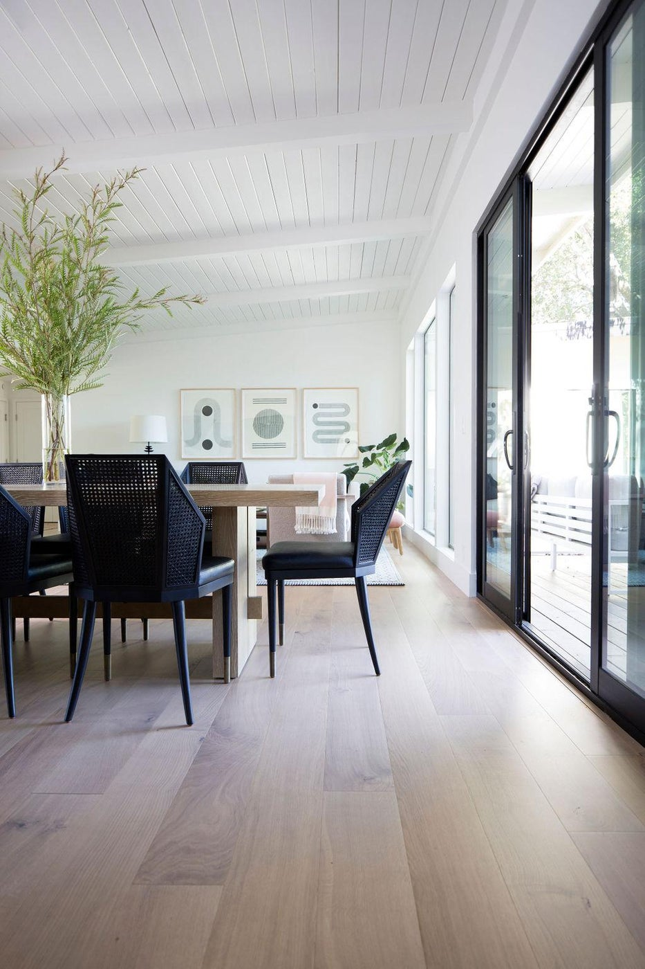 Modern Portola Valley Home, Dining Room with Caned Chairs and White Oak Table