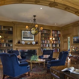 Traditional Custom Home Office and Library by Diane Burgoyne Interiors