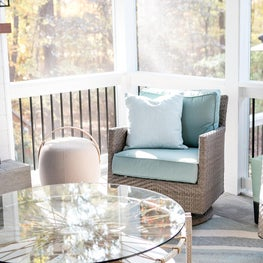 Fantastic coffee table on screen Porch