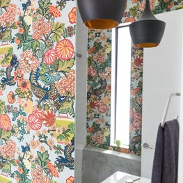 A Space Guided Therapy - Orange + Navy Bathroom