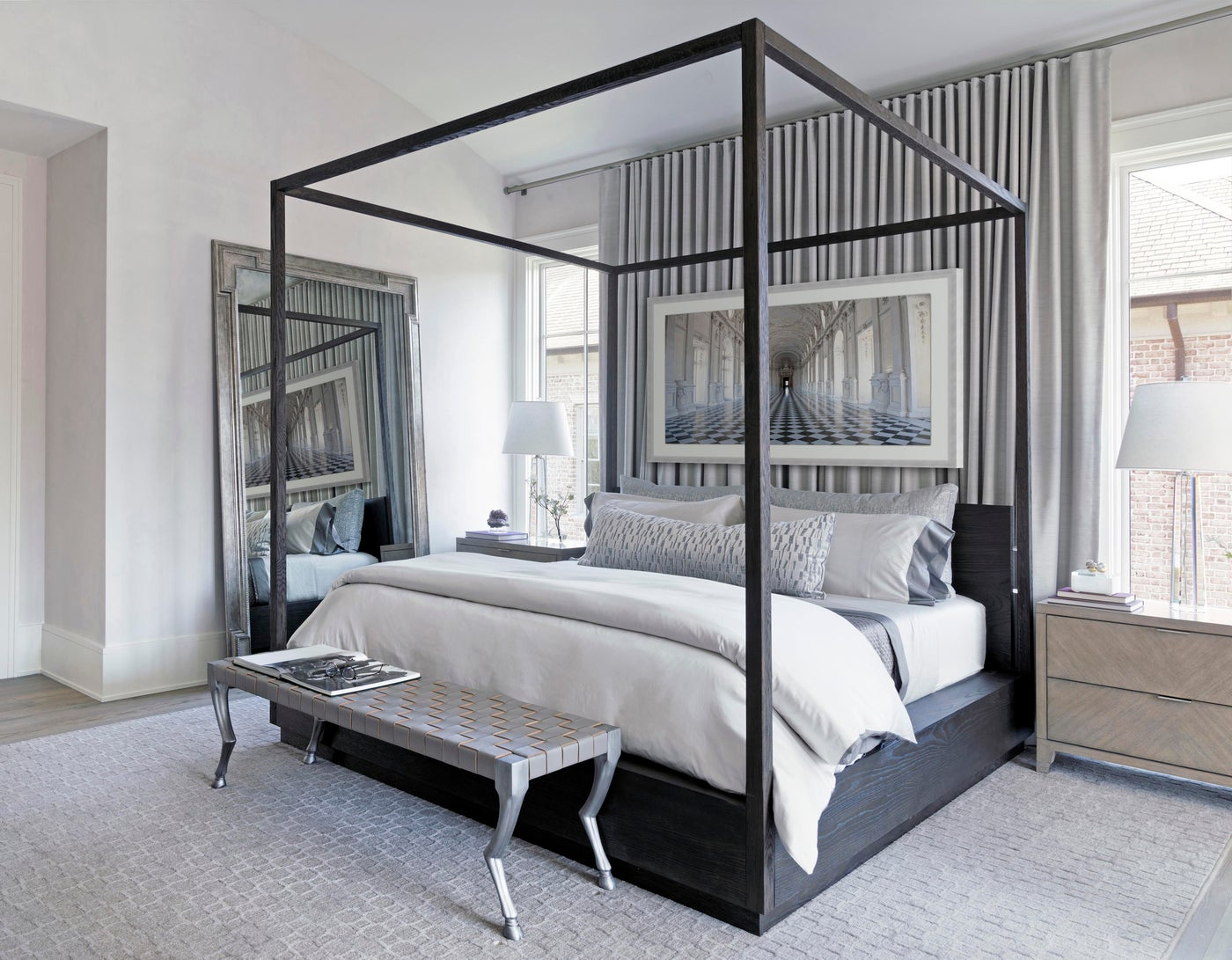 Cozy Master Bedroom with Silver Accents