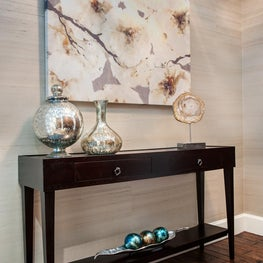 Entry with Console Table, Grasscloth Walls and Metallic Accessories