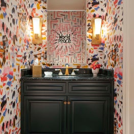 Powder Room with Artful Wallpaper