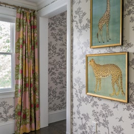 Wallpaper with Floral Print Draperies and Animal Artwork