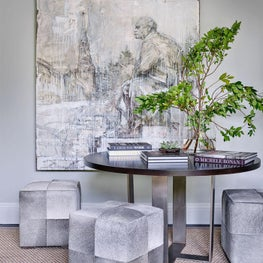 Grey Walls, Sitting Area, Ottomans, Statement Art, Coffee Table Books, Neutral Palette - Glencoe Contemporary Project