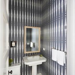 Powder room, gray & white wallpaper, star pendant, marble mosaic floor