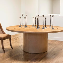 Roulette Dining Table, Violet Chair & Antique Candle Holders
