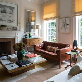 Warm living room with classic molding