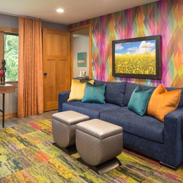 Media Room full of intense color and pattern