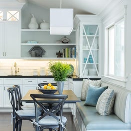 Custom banquette seating in kitchen