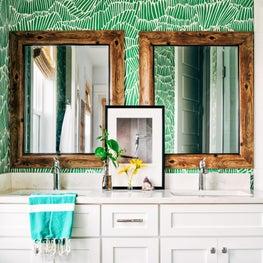Green Bathroom Wallpaper and Mirrors at Beach House in Anna Maria, Florida