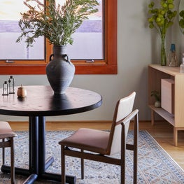 Open Plan Office with Custom Table and Vintage Rug