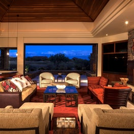 Desert Mountain great room in rich red and sand Scottsdale Arizona