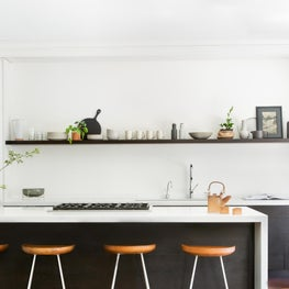 Modern Black and White Kitchen with Open Shelving