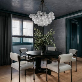 Dining room with custom plaster ceiling and walls. Designed by Lindsay Gerber
