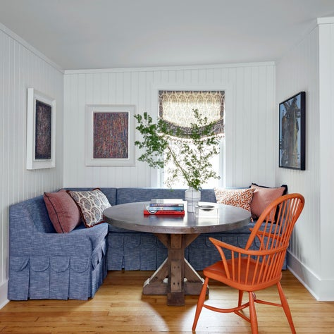 Cozy game nook with custom banquette