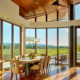 Dining room overlooking the vineyards
