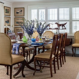 Transitional dining room that blends the old with the new.