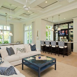 Florida Game Room with Custom Bar by Diane Burgoyne Interiors