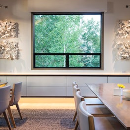 Snowmass Village, Aspen Two Creeks Remodel- Dining Room, cantilevered cabinet