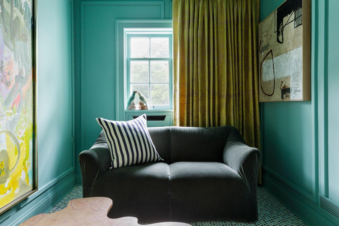 Lake Forest Showhouse 2020 : Marble Mosaic Floor, Mario Bellini Lovdseat, Stripe Pillow, Dedar Silk Drapery, Abstract Art, Green Walls