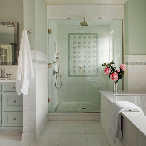 Contemporary farmhouse bathroom with tile shower, pistachio palette