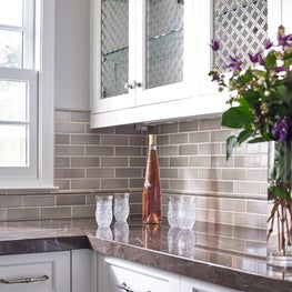 Butler's Pantry with subway tiles in Hillsborough residence.