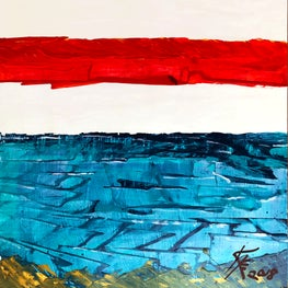 """""""Sunset Beach"""" 24x24"""" acrylic/gilt on panel"""