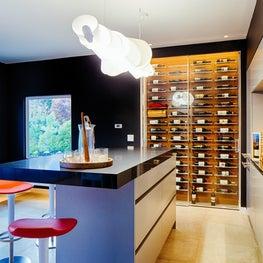 Los Altos Hills, bar and wine cellar in new garden house.